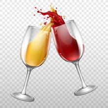 Vector 3d Realistic Wineglasse...