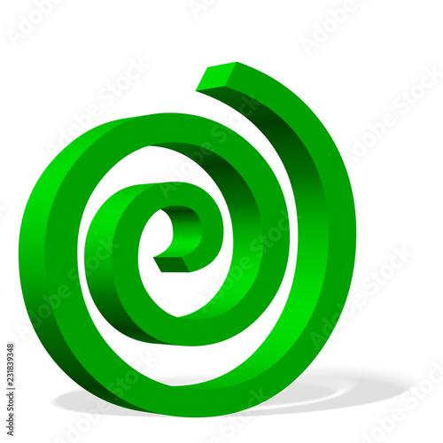 Staande foto Spiraal Grüne Spirale vor weißem Hintergrund