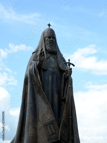 Poster Monument Monument to Patriarch Alexy II near the Holy Dormition Cathedral in Vitebsk