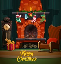 Christmas Fireplace With Xmas Gifts And Stockings