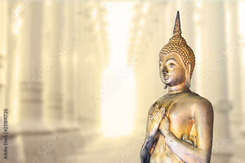 Foto  Spiritual buddha statue in the lights, meditating in stone temple