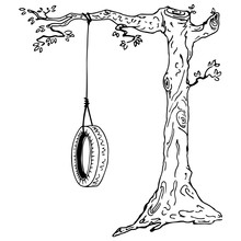 Children's Swing On A Tree Branch. Hand Drawn Swing From The Car Tire.  Vector Illustration Wheel Tied To A Tree Branch.