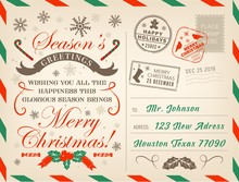 Christmas Holiday Postcard, Xmas Decorations