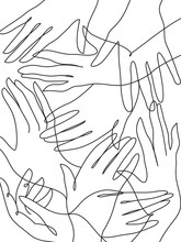 Many Hands Line Art Drawing