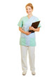 canvas print picture Frau im Kittel als Krankenpfleger vom Pflegedienst