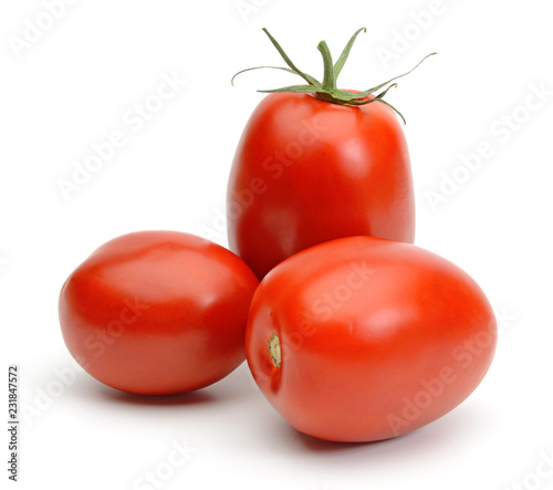 Fototapeta San marzano plum tomatoes isolated on white background obraz