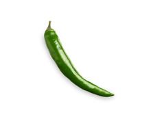 Green Chili Pepper On White Ba...