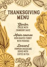 Thanksgiving Food Menu For Holiday Dinner Celebration.