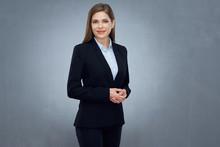 Business Woman Wearing Black Suit Isolated Studio Portrait.