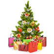 Vector Christmas Tree with Shopping Bags