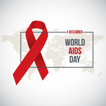 World Aids Day. Vector Illustration With Red Ribbon