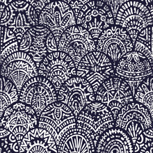 Seamless Vintage Seigaiha Pattern. Ethnic And Tribal Motifs. Blue And White Grunge Print For Textiles. Vector Illustration.