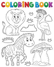 Coloring Book African Nature Theme Set 3