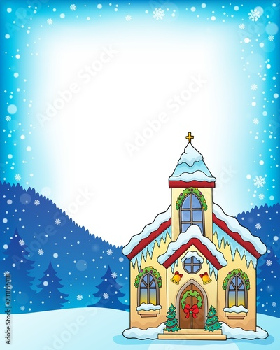 Tuinposter Voor kinderen Christmas church building theme frame 1