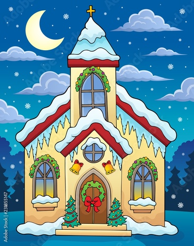 Tuinposter Voor kinderen Christmas church building theme image 3