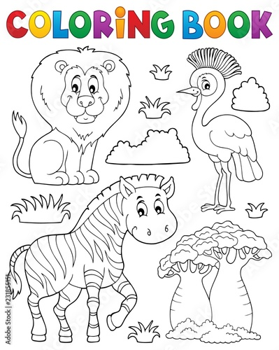 Tuinposter Voor kinderen Coloring book African nature theme set 3