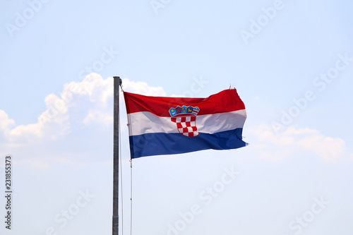 Foto  Flag of Croatia, blowing in the wind