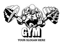 Muscular Bodybuilder Flexes Heavy Barbell, Illustration, Logo, Design