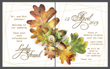 Set Of Two Template Cards With Autumn Oak Leaves And Acorns For Invitation Or Poster Design. Illustration Painted With Colored Pencils On White Background.