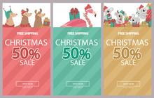 Promo Christmas, New Year Banner, Sale Poster And Flyer With Fun Animals. Llama, Flamingo And Koala Bear Character. Editable Vector Illustration