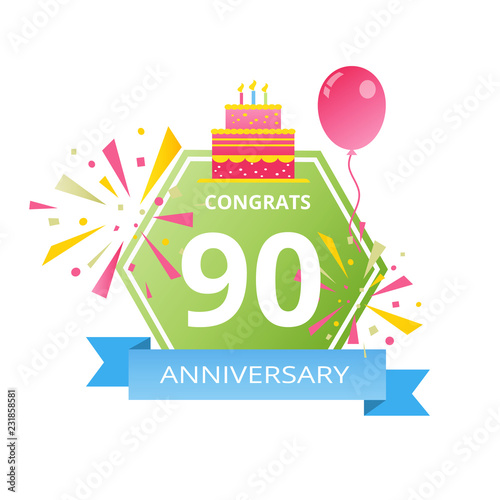 90 Years Anniversary Logo With Colorful Abstract Background