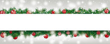 Christmas Frozen Twigs Snowfall Red Baubles Bow Banner