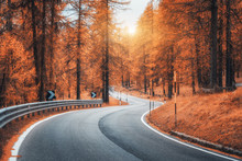 Road In Autumn Forest At Sunse...