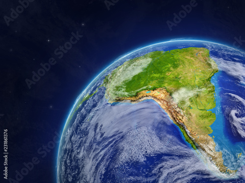 Fototapety, obrazy: South America on model of planet Earth with very detailed planet surface and clouds.
