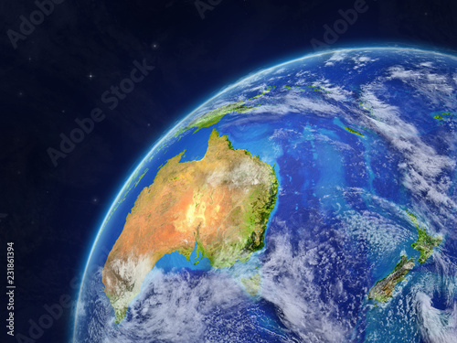 Fototapety, obrazy: Australia on model of planet Earth with very detailed planet surface and clouds.