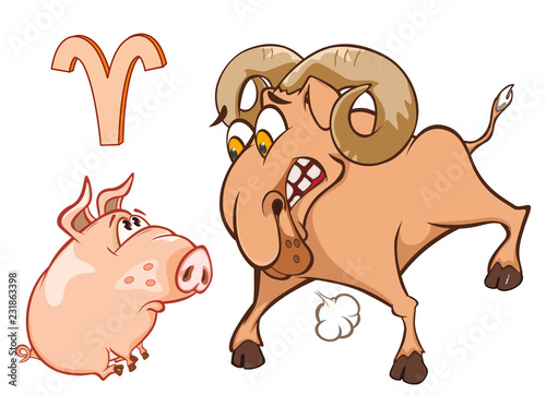 Staande foto Babykamer Illustration of a Cute Pig. Vector Illustration of a Cute Pig. Astrological Sign in the Zodiac Aries. Cartoon Character