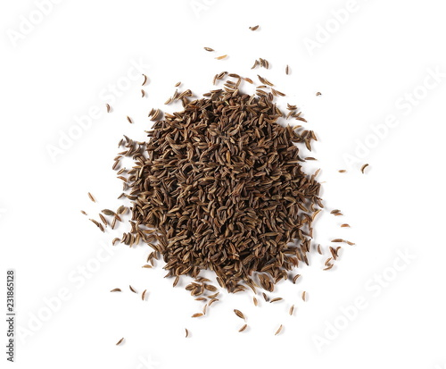 Keuken foto achterwand Aromatische Pile of cumin, caraway seeds isolated on white background, top view