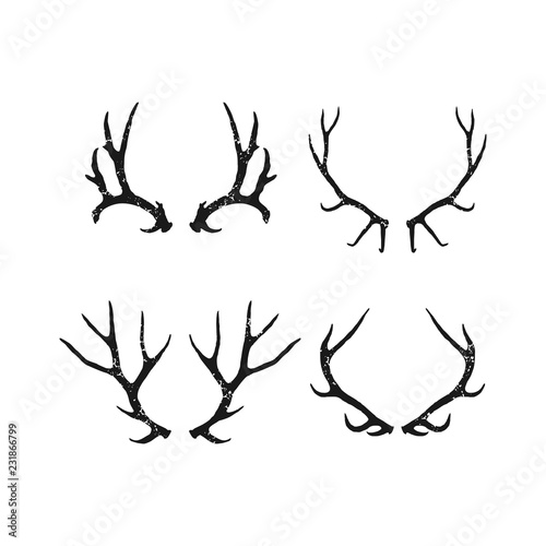 Photo Handrawn antler vector, Hunting logo design inspiration