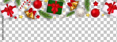 Fotografia Abstract Holiday New Year and Merry Christmas Border on Transparent Background V
