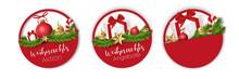Weihnachtsangebote Sticker Set Rund Und Rot