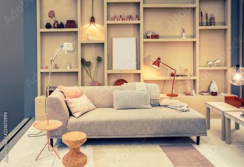 Fotografía  living room with bookcase