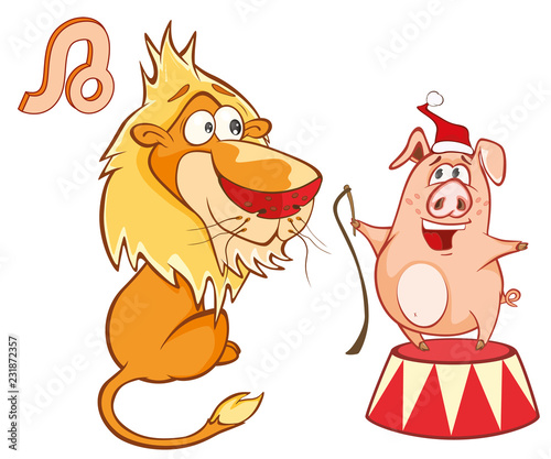 Illustration of a Cute Pig. Astrological Sign in the Zodiac Leo. Cartoon Character.