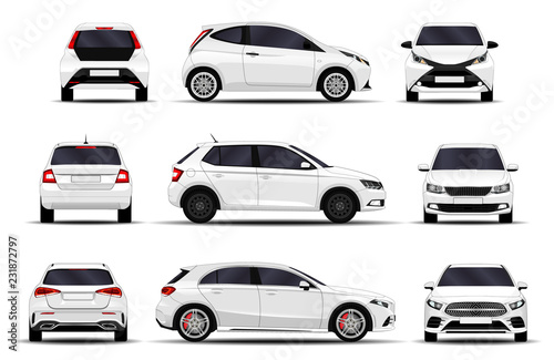 Fotomural realistic cars set. hatchback. front view, side view, back view.