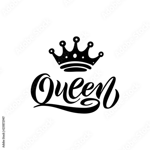 Photo Queen word with crown. Hand lettering text vector illustration