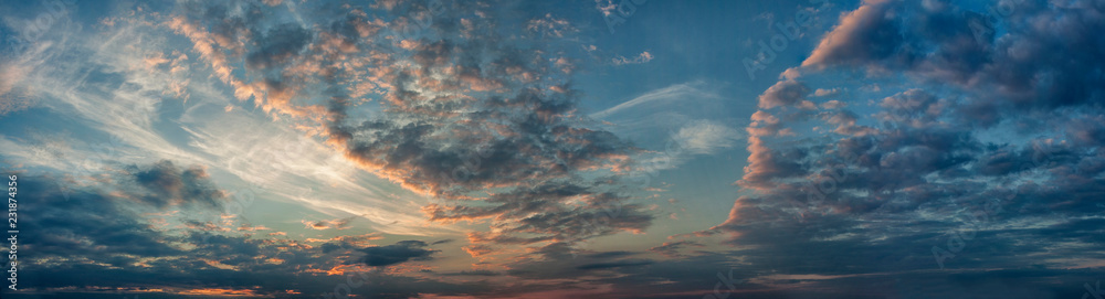 Fototapety, obrazy: Panorama evening sky with blue, white and orange clouds
