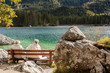 An old couple having vacation in Alps, Hintersee lake, Germany