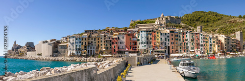 Poster Liguria Beautiful panoramic view of the historic center of Portovenere, a characteristic seaside village of Liguria, Italy