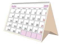 July 2019 Desk Calendar In Spanish Julio 2019