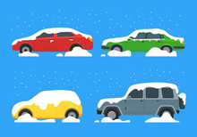 Cartoon Color Cars Covered Sno...