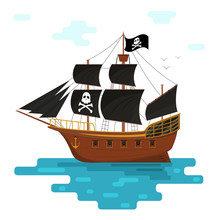 Cartoon Pirate Ship With Black...
