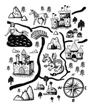 Fantasy Landscape Map With Fairy Tale Castle, Dragon, Unicorn, Mermaid.  Old Medieval Treasure Cartography, Hand Drawn In Vector