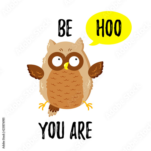 Deurstickers Uilen cartoon Cute cartoon funny owl. Vector doodle illustration. Template for print, web design