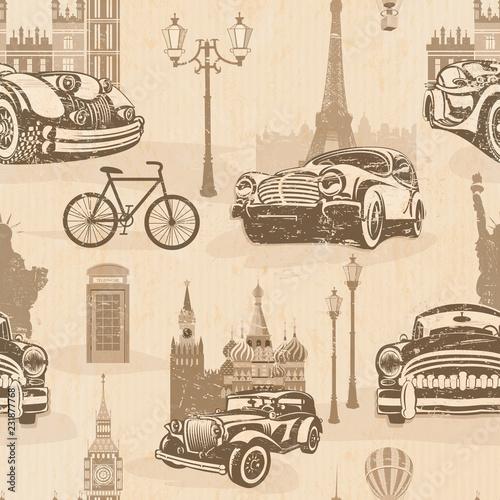 Poster Doodle Seamless vintage travel background,