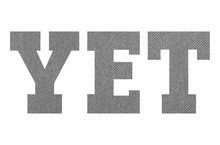 YET – With Gray Fabric Texture On White Background