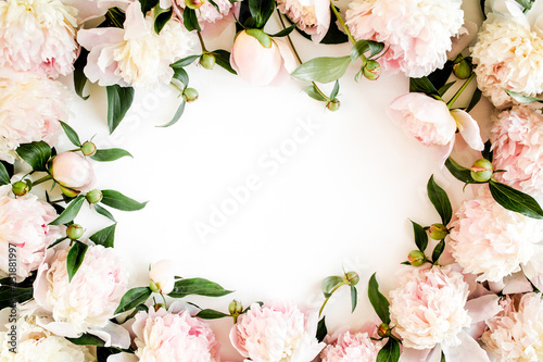 Fotobehang Bloemen Frame made of beautiful pink peonies on white background. Flat lay, top view. Valentine's background. Floral frame. Peony texture.