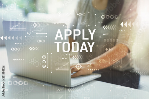 Apply today with woman using her laptop in her home office Wallpaper Mural